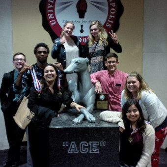 The Indiana State Debate Tournament.  Pictured (left to right): Liam Byrnes, KeVeon White, Rajshree Upadhyay, Megan Ozog, Jessica Miller, Danny Schultz, Malak Daher, Kylee Rippy (2017).