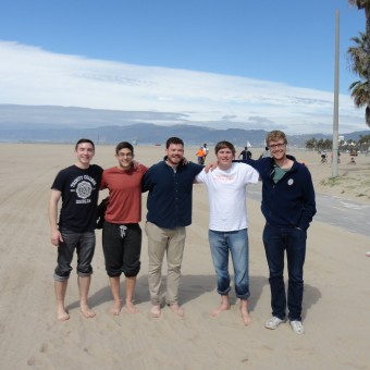 DePauw Debaters seek inner peace at Venice Beach before the start of the NEDA National Tournament. Pictured (left to right): Liam Byrnes, Danny Schultz, Matt Piggins, Jack Wlliams, Mickey Terlep (2016).