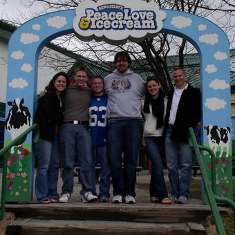 DePauw Debaters insisted on visiting the Ben & Jerry's Factory after rounds at the US Universities National Debate Championships hosted by the University of Vermont, April 2-5, 2009. Left to Right: Christine Walker, Avery Archer, Aaron Dicker, Kevin Milne, Keelin Kelly, and Michael Lutz.