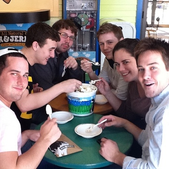 DePauw Debaters Tackle the Vermonster after the USU National Tournament hosted by the University of Vermont in 2011.
