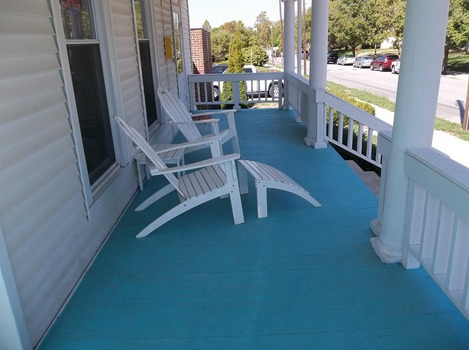 Come sit and relax for a bit on our front porch!