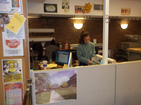 Student workers at printing services