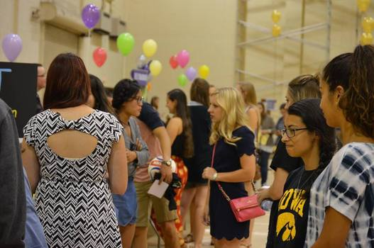 Students mingling together at DePauw event