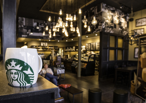 Starbucks Coffee Shop in Downtown Greencastle
