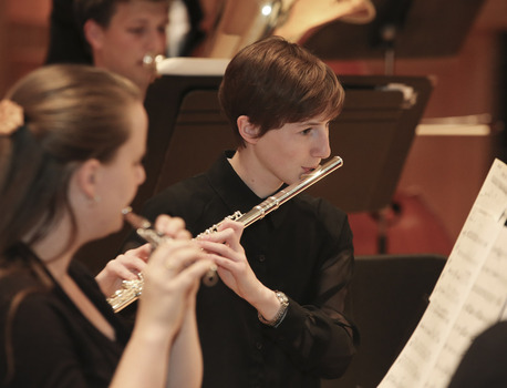 Eleanor performs with the DePauw University Band