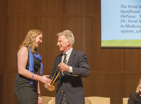 Samantha Anderson, 2014 Ferid Murad Medal Recipient with VP of Academic Affairs, Larry Stimpert