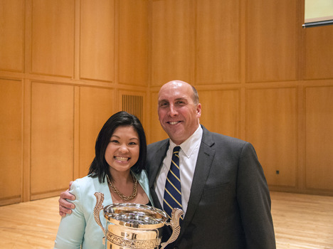 Sandy Tran, 2014 Walker Cup Recipient with President Casey