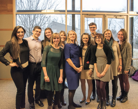 Interns and Graduate Fellows with Piper Kerman, author of Orange Is The New Black, during her visit to DePauw for an Ubben Lecture hosted by Prindle