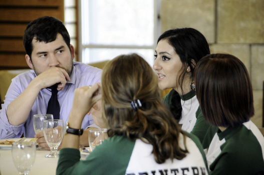 Prindle interns talk with Director Andy Cullison at the 2015 Undergraduate Ethics Symposium