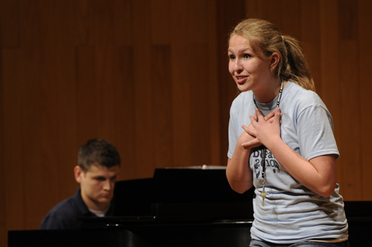 Student performing in Thompson Recital Hall