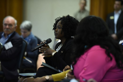 Leslie Smith '03 participates in discussion during Coming Together Weekend 2017.