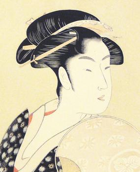 Geisha with a Fan by UTAMARO, Kitagawa
