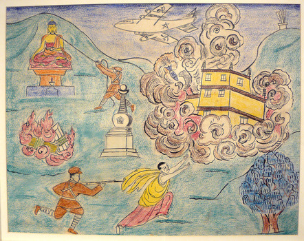 Destruction of Tibetan Monasteries, colored pencil on paper, 2004.2.11, Gift of Bruce Walker '53