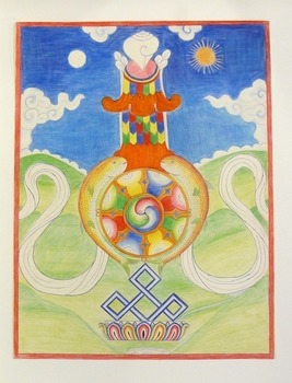 Drawing of Eight Sacred Emblems of Buddhism Tibetan, 1960 - 1964 colored pencil on paper Gift of Bruce Walker '53, 2004.2.7