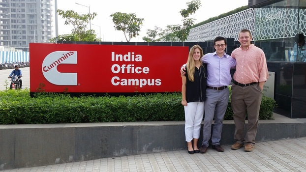 Abbie North '16, Connor McAndrew '16 and Sam Sheldon '16 on location at Cummins India.