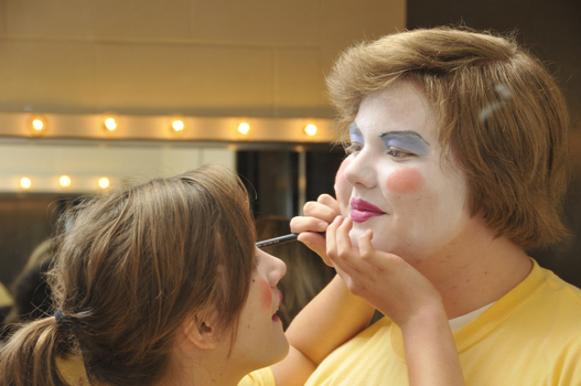 Students in the Stage Make-up Class