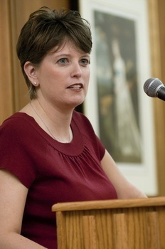 Angie Hicks '95, founder of Angie's List, speaks as part of the McDermond Lecture Series.