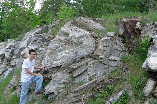 Sam Rund '08 at a folded Bancroft, Canada outcrop.