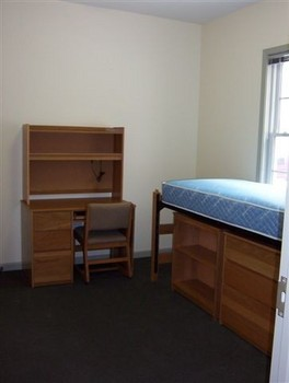 Single-occupancy bedroom within Rector Village with a low-lofted bed