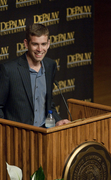 Brad Stevens '99, the Head Coach of the Boston Celtics, speaks as part of the McDermond Lecture Series.