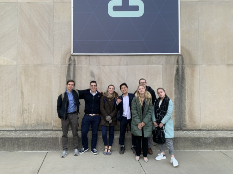 The award winning DePauw Debate Team celebrates outside Clowes Memorial Hall at Butler University.  Pictured (Left to Right): Matt Hatch, Damir Pupovic, Sage Klinger, Yong Heo. Alex Spencer, Alayna Trier, Kristina Mikhailova.