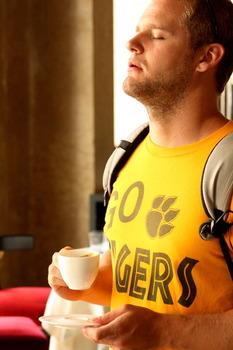 Student with Tigers shirt enjoying Italian beverage