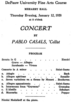 1928—Virtuoso cellist Pablo Casals performs at DePauw on January 12
