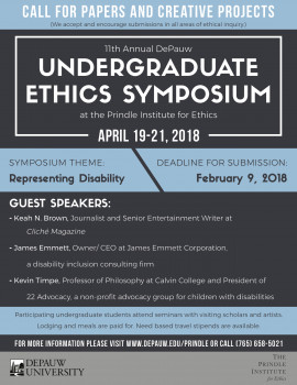 Call for Paper for the 2018 Undergraduate Ethics Symposium