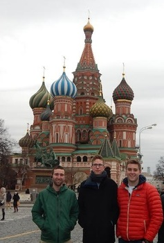 Charles Roberts ('16), Brian Heck ('16), Zach Liebman (Grinnell College) in Moscow, Russia
