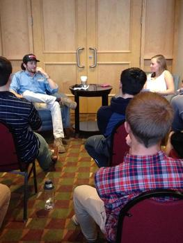 Chris White '11, Co-Founder and CEO of Shinesty, speaking with students about his experiences as an entrepreneur.
