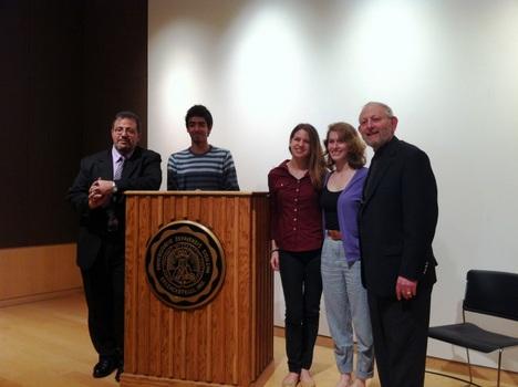 Imam Hendi, Aashray Patel '14, Melanie Studnicka '15, Sasha Neufeld '14, and Rabbi Serotta after the Clergy Beyond Borders event.