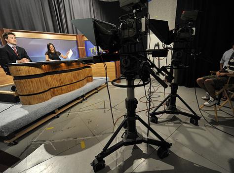 Students at D3TV news desk
