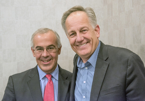 David Brooks with Ken Owen before an October 4, 2014 Ubben Lecture.