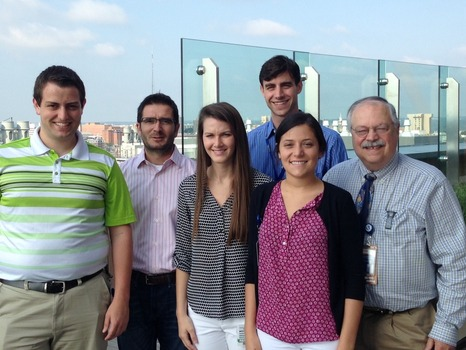 Dr. Sam Kocoshis '69 hosted DePauw student interns at Cincinnati Children's Hospital Medical Center. He is pictured here with fellow alumni colleagues and interns. Left to right: Nathaniel Smith '17, Dr. Senad Divanovic '98, Megan Karbowski '17, Joshua Baugh '11, Christine Cassidy '17, Dr. Sam Kocoshis '69.
