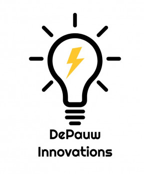 DePauw Innovations logo featuring a light bulb with lightning in the middle