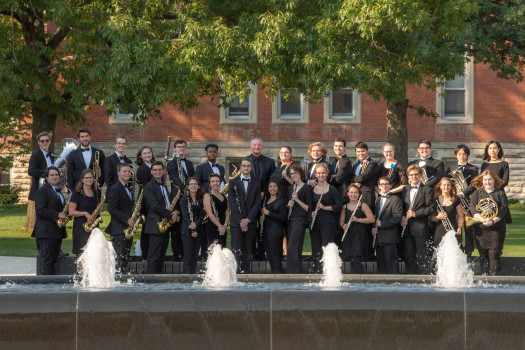 DePauw University Band in front of the fountain in Stewart Plaza
