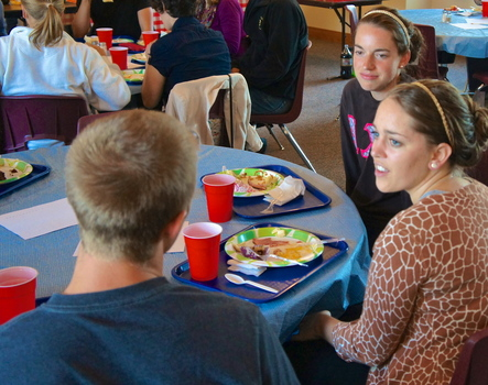 Dinner following Catholic Student Association Student Mass at St. Paul's Church in Greencastle