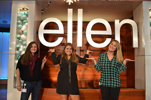 LIVE from the Ellen show, intern Grace Flickinger '16 (center) joined by Jill Irvin '09 (left) and Elizabeth Harrison '12