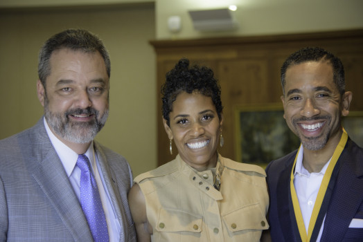 President Mark McCoy, Darrianne Christian '95, Justin Christian '95
