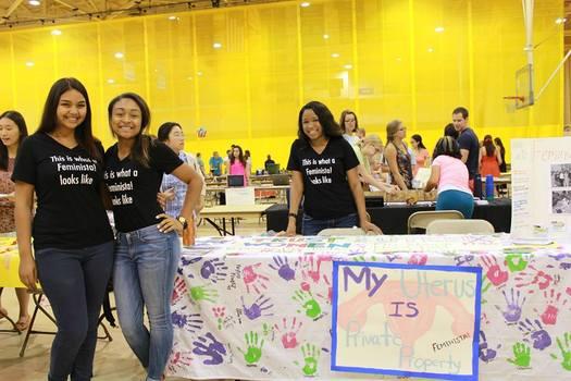 Students promoting Feminista organization