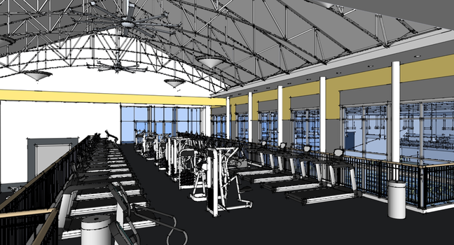 Proposed fitness facility in an expanded and renovated Lilly Center.