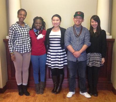 International Student Association 2014-2015 executive board members Inés Giramta, Busola Shifatu, Manmin Guo, Billy Shone and Yuka Kitajima.
