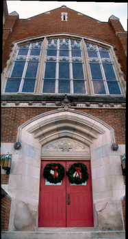 The doors of Gobin Memorial United Methodist Church decorated for Advent