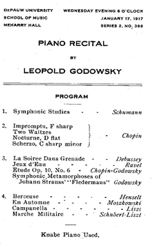 1917—World-famous pianist Leopold Godowsky performs at DePauw on January 17