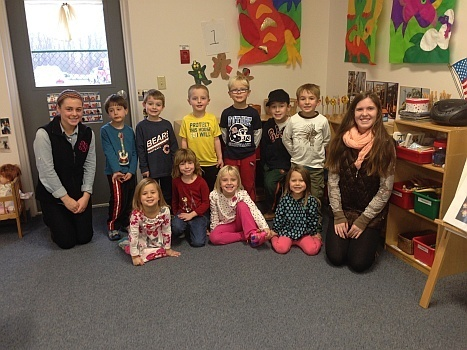 Grace and Carsen with their smiling students.