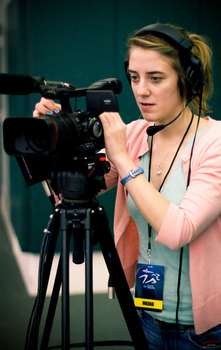 Jamie Grivas, Class of '10, filming the Indoor Track and Field Championships