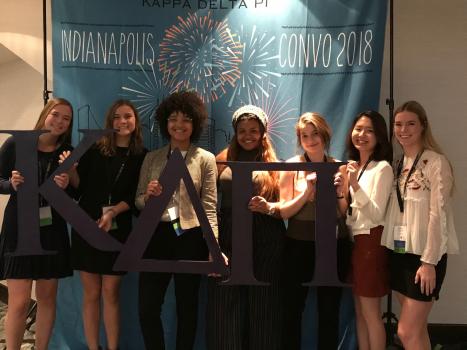 Jamie Heneghan, Tess Weigel, Stephanie Ramos, Char Benitez, Savannah Wilcek, Fumika Daimon, and Tricia Heneghan at the 2018 KDP International Convocation in Indianapolis