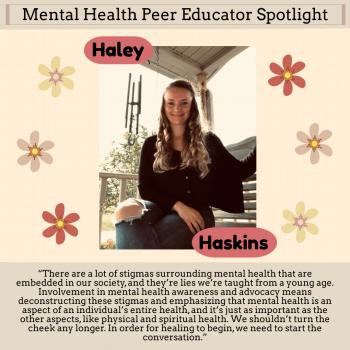 Haley Haskins, 1 of 5 Mental Health Peer Educators 2020-21