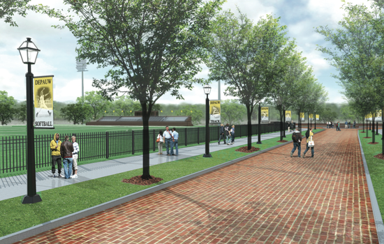 Rendering of proposed enhancements to Hanna Street, the entrance to DePauw's athletic campus.