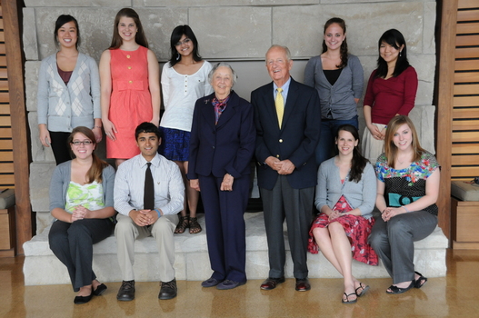 Anne and Charles Hillman (center) with the 2010-11 Hillman Student Interns